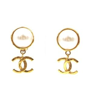 Chanel Jewelry - Gold Cc Drop Logo White Pearl Clip On Earrings